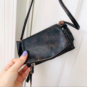 Free People | Mini Brown Distressed Crossbody Bag